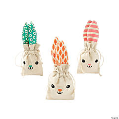 Easter Bunny Canvas Drawstring Treat Bags