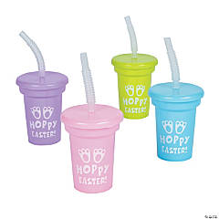 Easter Mini Cups with Lids & Straws