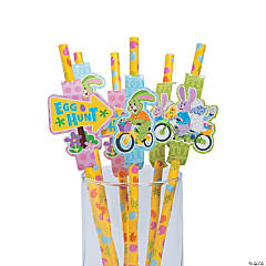 Easter Paper Straws with Cutouts