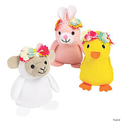 Easter Stuffed Bunnies, Chicks and Lambs with Flower Crown