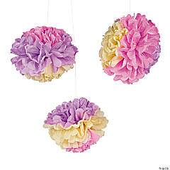 Easter Tissue Paper Pom-Pom Decorations with Grommet