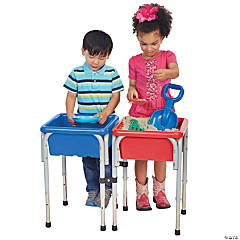 ECR4Kids 2 Station Square Sand and Water Table with Lids