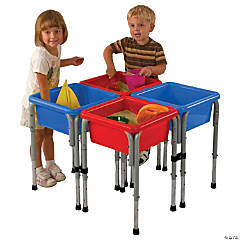ECR4Kids 4 Station Square Sand and Water Table with Lids
