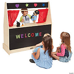 ECR4Kids Activity Birch Hardwood Play Puppet Theater with Flannel Covered Board