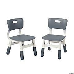 ECR4Kids Adjustable Resin Chair 2-Pack Grey
