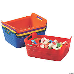 ECR4Kids Bendi-Bins with Handles, Flexible Plastic Storage, 13in x 10in 6-Piece - Assorted