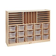 ECR4Kids Birch Multi-Section Storage Cabinet with 15 Bins - Clear