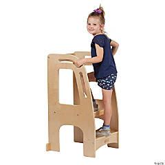 ECR4Kids Kitchen Helper Tower - Adjustable Kids Stool with Safety Rails - Natural