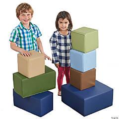 ECR4Kids Softzone Foam Big Building Blocks - Earthtone, 7pc Set