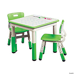 ECR4Kids Square Resin Dry Erase Activity Table and 2 Adjustable Chairs - Grassy Green