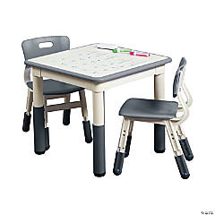 ECR4Kids Square Resin Dry Erase Activity Table and 2 Adjustable Chairs - Grey