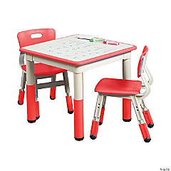 ECR4Kids Square Resin Dry Erase Activity Table and 2 Adjustable Chairs - Red