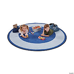 ECR4Kids Two-Tone Circle Area Rug - 6 Foot Round, Blue