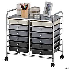 ECR4Kids12-Drawer Rolling Storage Cart - Greyscale