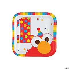 Elmo Turns One Square Paper Dessert Plates - 8 Ct.