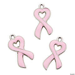 Enamel Pink Ribbon Charm - 20mm
