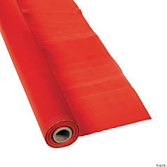 Extra Long Red Plastic Tablecloth Roll