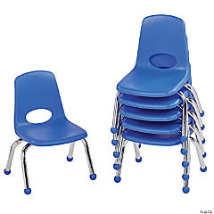 Factory Direct Partners 10 in Stack Chair with Ball Glides, 6-Pack - Blue