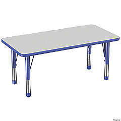 Factory Direct Partners 24 x 48 in Rectangle T-Mold Adjustable Activity Table with Chunky Legs - Gray/Blue