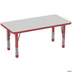 Factory Direct Partners 24 x 48 in Rectangle T-Mold Adjustable Activity Table with Chunky Legs - Gray/Red