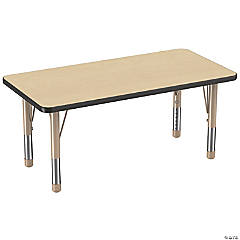 Factory Direct Partners 24 x 48 in Rectangle T-Mold Adjustable Activity Table with Chunky Legs - Maple/Black/Sand