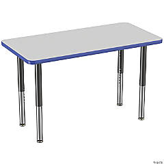 Factory Direct Partners 24 x 48 in Rectangle T-Mold Adjustable Activity Table with Mobile Super Legs - Gray/Blue