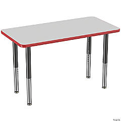 Factory Direct Partners 24 x 48 in Rectangle T-Mold Adjustable Activity Table with Mobile Super Legs - Gray/Red