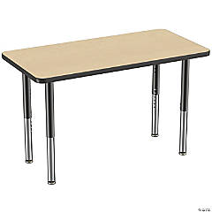 Factory Direct Partners 24 x 48 in Rectangle T-Mold Adjustable Activity Table with Mobile Super Legs - Maple/Black