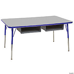 Factory Direct Partners 24 x 60 in Rectangle Book Box Adjustable Activity Table with Standard Swivel Glide Legs - Gray/Blue