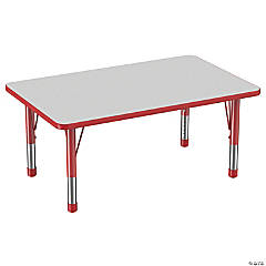Factory Direct Partners 30 x 48 in Rectangle T-Mold Adjustable Activity Table with Chunky Legs - Gray/Red