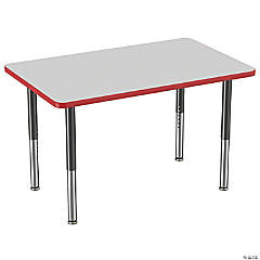 Factory Direct Partners 30 x 48 in Rectangle T-Mold Adjustable Activity Table with Mobile Super Legs - Gray/Red