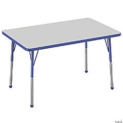 Factory Direct Partners 30 x 48 in Rectangle T-Mold Adjustable Activity Table with Standard Ball Glide Legs - Gray/Blue