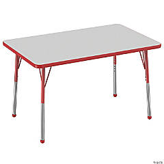 Factory Direct Partners 30 x 48 in Rectangle T-Mold Adjustable Activity Table with Standard Ball Glide Legs - Gray/Red