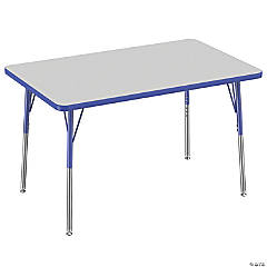Factory Direct Partners 30 x 48 in Rectangle T-Mold Adjustable Activity Table with Standard Swivel Glide Legs - Gray/Blue