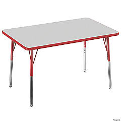 Factory Direct Partners 30 x 48 in Rectangle T-Mold Adjustable Activity Table with Standard Swivel Glide Legs - Gray/Red
