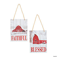 Faithful & Blessed Barn Ornaments