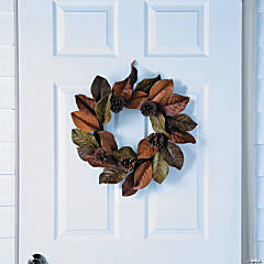 Fall Magnolia Leaves & Pinecones Wreath
