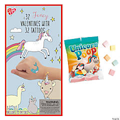 Fancy Prancy Valentine Exchange with Temporary Tattoos & Unicorn Poop Candy Fun Packs