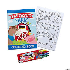 Farm Coloring Books with Crayons