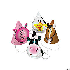 Farm Party Die Cut Cone Hats (8 pc)