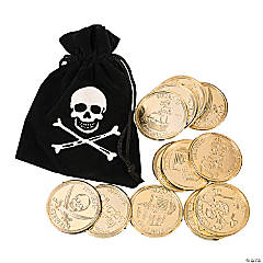 Faux Suede Pirate Drawstring Bags with Plastic Gold Coins