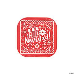 Feliz Navidad Square Paper Dessert Plates