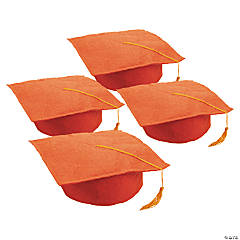 Felt Orange Graduation Caps