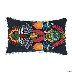Fiesta Embroidered Pillow with Poms