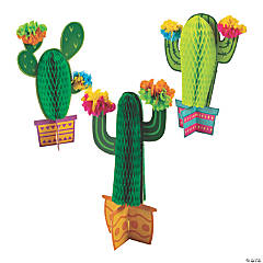 Fiesta Flower Cactus Honeycomb Table Decorations