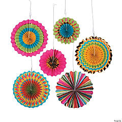 Fiesta Hanging Paper Fan Decorations