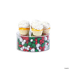 Fillable Cake Stand with Red & Green Christmas Filler
