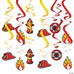 Firefighter Party Hanging Swirl Decorations - 12 Pc.