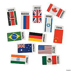 Flags Around the World Erasers -24 Pc.