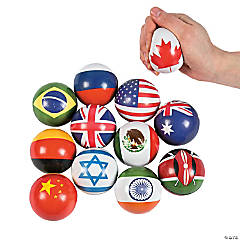 Flags Around the World Stress Balls